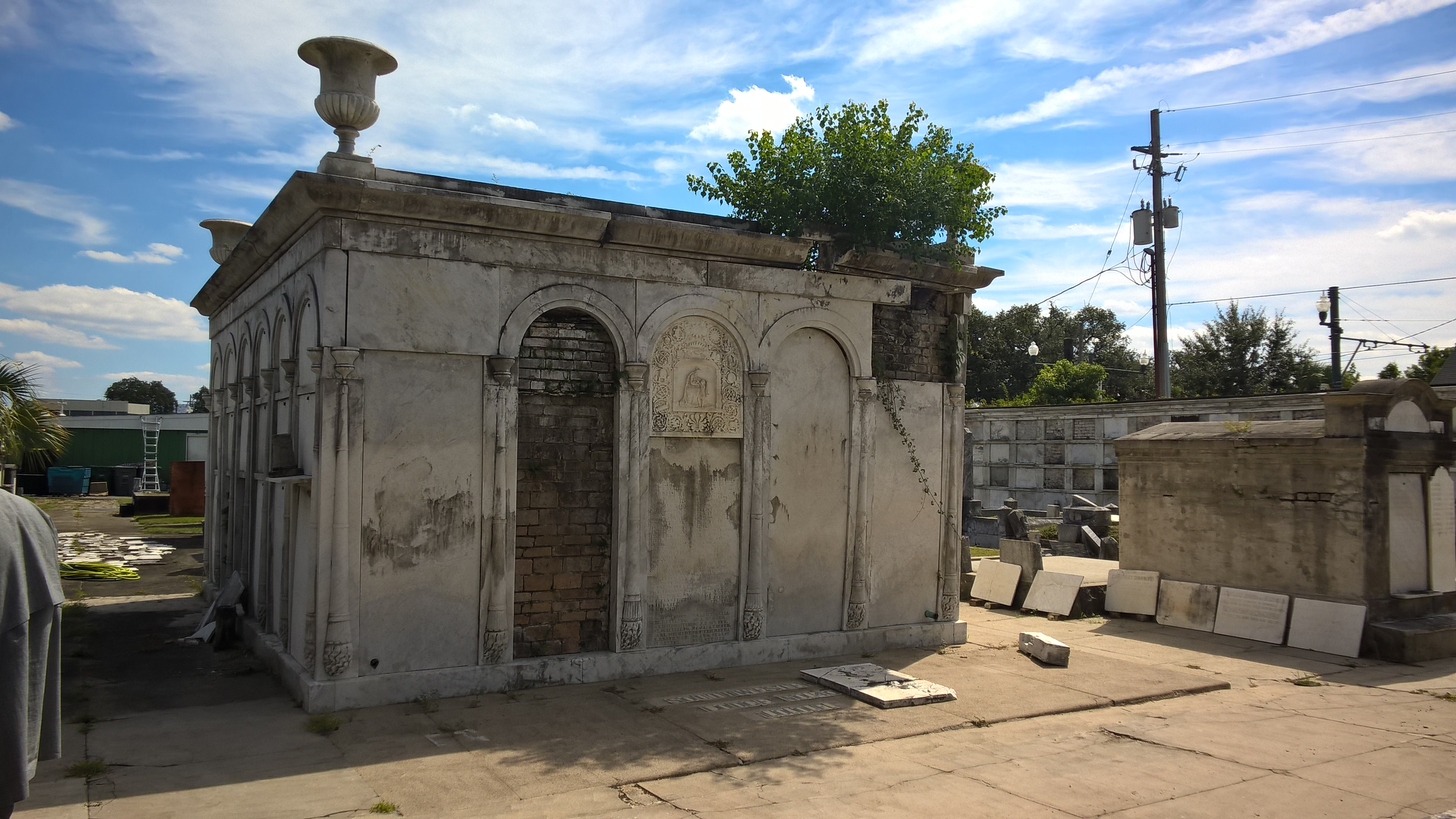 cemetery vault in repair